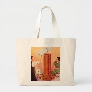 Retro Vintage Kitsch Electricity Tesla Coil Large Tote Bag
