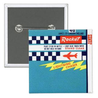 Retro Vintage Kitsch Firework Bottle Rocket Label 15 Cm Square Badge
