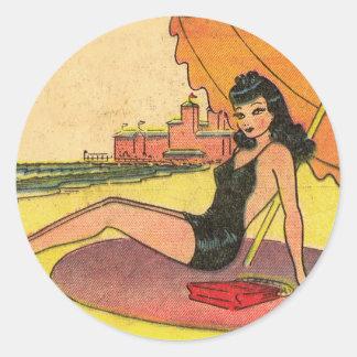 Retro Vintage Kitsch Pin Up Card Coney Island Girl Classic Round Sticker