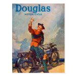 Retro Vintage Kitsch Scot Douglas Motorcycle Ad Post Card