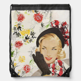 Retro Vintage Lady with Red Flowers Backpacks