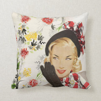 Retro Vintage Lady with Red Flowers Throw Pillow
