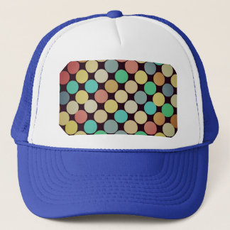 Retro Vintage Multicolored Circles Pattern Trucker Hat