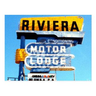 Retro Vintage Neon Motel Sign Postcard