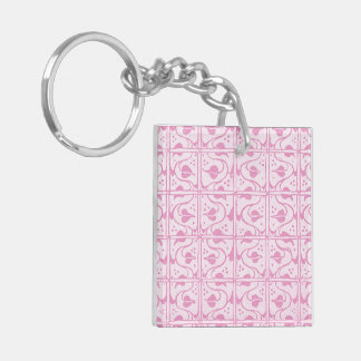 Retro Vintage Pink and White Leaf and Vines Key Ring