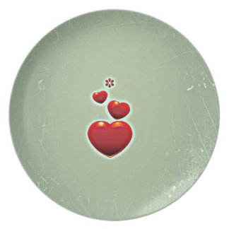 Retro Vintage Red Hearts On Green Background Plate