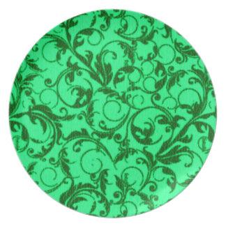 Retro Vintage Swirls Green Plate