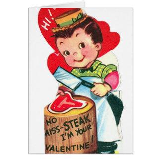 Retro Vintage Valentine butcher add message card