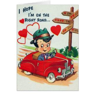 Retro Vintage Valentine man Holiday card