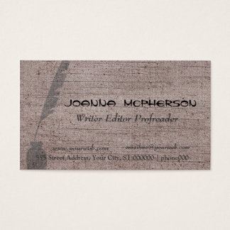 Retro Vintage Writer Feather Quill Business Card