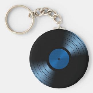 Retro Vinyl Record Album in Blue Key Ring
