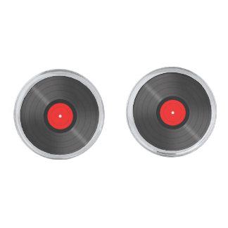 Retro Vinyl Record Cufflinks Silver Finish Cufflinks