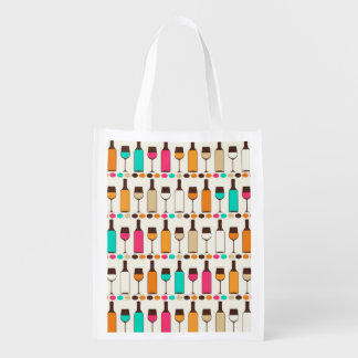 Retro wine bottles and glasses reusable grocery bag
