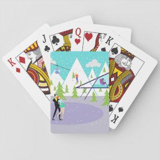 Retro Winter Ski Resort Playing Cards