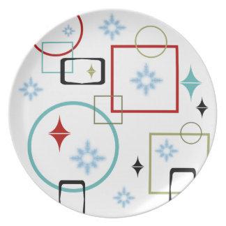 Retro Winter Snowflake Party Plates