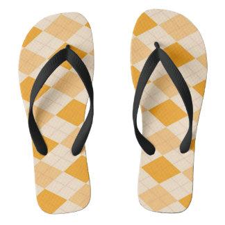 Retro yellow argyle rockabilly Flip flops
