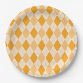 Retro yellow argyle rockabilly Paper plate 9 Inch Paper Plate