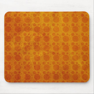 Retro Yellow Orange Grungy Polka Dots Pattern Mouse Pads