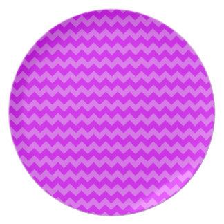 Retro Zigzags Purple Party Plates