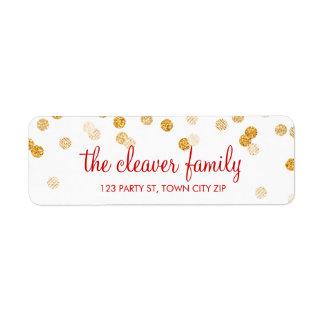 RETURN ADDRESS confetti polka dot glitter gold Return Address Label