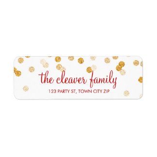 RETURN ADDRESS confetti polka dot glitter gold Return Address Label