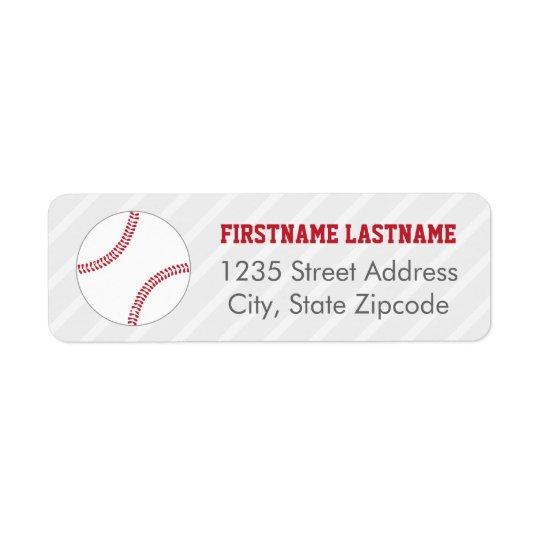 Return Address Labels | Red Baseball Theme