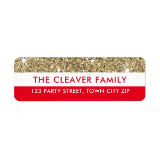 RETURN ADDRESS modern stripe faux gold glitter red Return Address Label