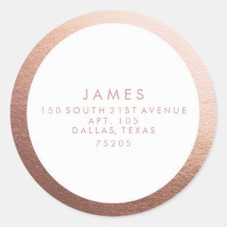 Return Address Sticker | Rose Gold Border