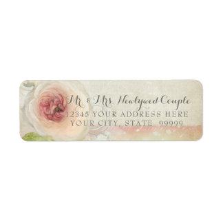 Return Address Vintage Peony Floral Elegant Art Return Address Label