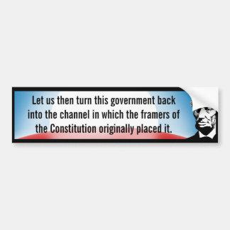 Return Government to Constitution (Lincoln) Bumper Sticker