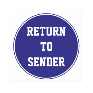 """RETURN TO SENDER"" + Circle Rubber Stamp"