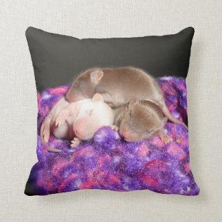 Reversible Baby Mice Throw Pillow