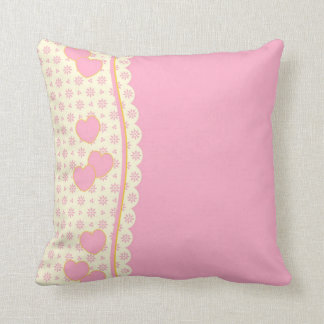 Reversible Pink and White Eyelet Heart  Pillow Throw Cushions