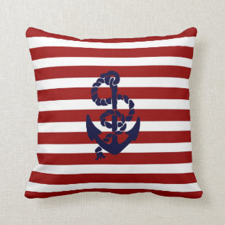 Reversible Red Blue Nautical Anchor Throw Pillow