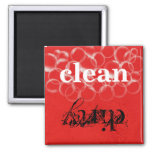 Reversible  Red Dirty Clean Dishwasher Magnet