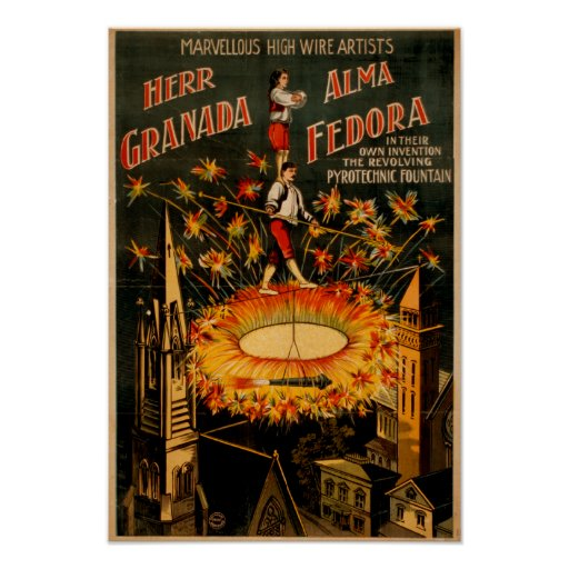 Revolving Pyrotechnic Fountain High Wire Print