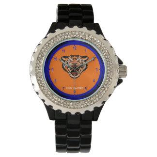 Rhinestone Watch, Black Enamel tiger Watch