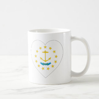 Rhode Island Flag Heart Coffee Mug