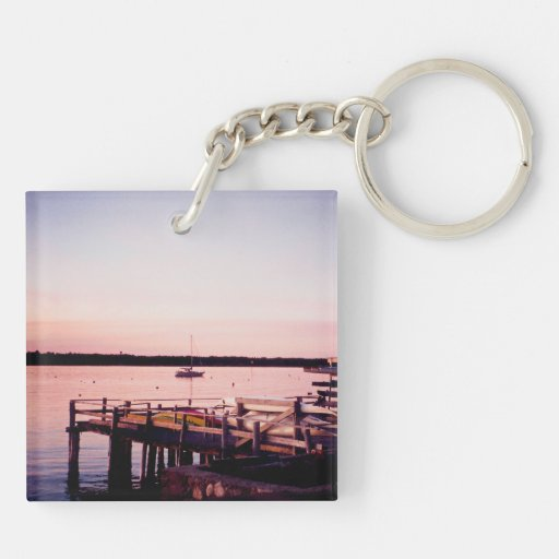 Rhode island life sunset key chain