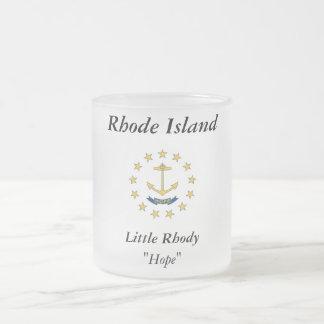 Rhode Island State Flag Frosted Glass Coffee Mug