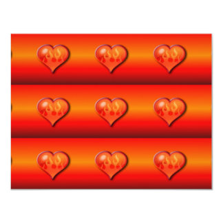 Ribbed Flaming Hearts on Fire 4.25x5.5 Paper Invitation Card