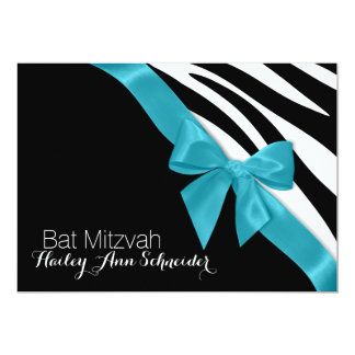 Ribbon and Zebra Stripes Bat Mitzvah 13 Cm X 18 Cm Invitation Card