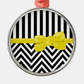 Ribbon, Bow, Zigzag, Stripes - Black White Yellow Silver-Colored Round Decoration