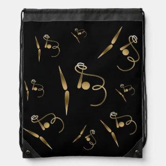 Ribbon Rhythmic Gymnastics Gold Metal 3D Effect Drawstring Bag