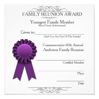 Ribbon Youngest Family Reunion Awards Template 13 Cm X 13 Cm Square Invitation Card