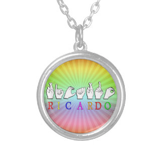 RICARDO ASL FINGERSPELLED NAME SIGN SILVER PLATED NECKLACE