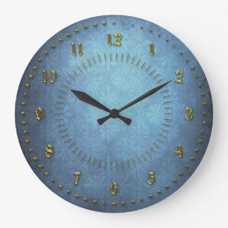 Rich Blue Grunge Numbered Large Clock