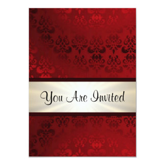 Rich dark red damask & gold 4.5x6.25 paper invitation card
