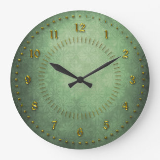 Rich Green Grunge Numbered Large Clock