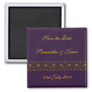 Rich Purple Wedding Square Magnet